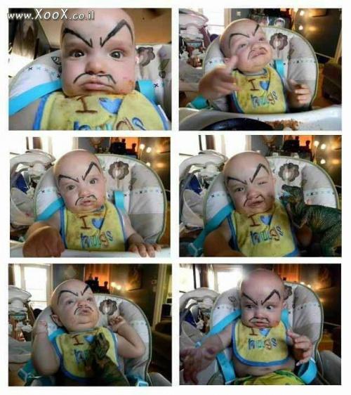 תמונת כשמציירים לתינוק גבות..